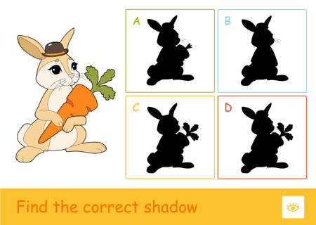 Find the correct shadow quiz learning children game with cute rabbit holding a carrot and four silhouette shadows for the youngest children. Learning of wild animals 向量圖像