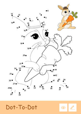 Colorful vector template and colorless contour dot-to-dot cute bunny isolated on white background. Wild animals preschool kids coloring book illustrations and developmental activity.