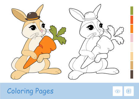 Colorful template and colorless contour image of cute rabbit holding a carrot isolated on white background. Wild animals preschool kids coloring book illustrations