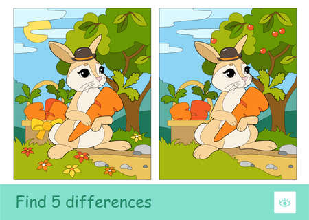 Find five differences quiz learning children game with cute bunny in a hat picking carrots in a basket in a wood. Colorful image of wild animals.