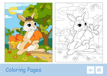 Colorful template and colorless contour image of cute bunny in a hat picking carrots in a basket in a wood. Wild animals preschool kids coloring book vector illustrations