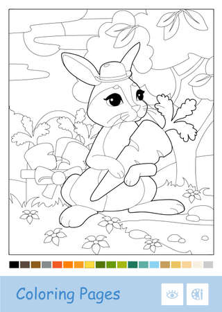 Colorless vector contour illustration of bunny in a hat picking carrots in a wood isolated on white and suggested palette. Wild animals preschool kids coloring pages