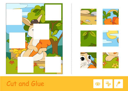 Cut and glue vector learning children game. Colorful puzzles of cute bunny in a hat picking carrots in a wood. Wild animals educational activity for kids. 向量圖像