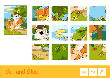 Cut and glue colorful vector image and puzzle learning children game with rabbit in a hat picking carrots in a basket. Animals educational activity for kids.