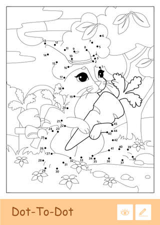Colorless vector contour illustration of bunny in a hat picking carrots in a wood isolated on white background. Wild animals preschool kids coloring pages and developmental activity.