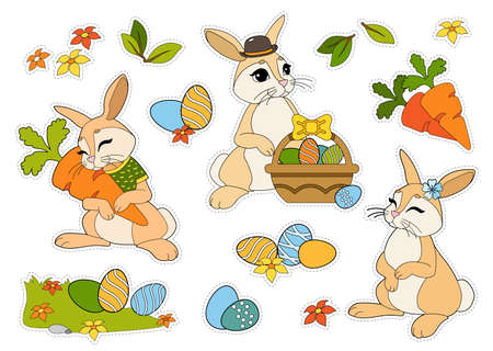 Easter stickers set with rabbits, Easter eggs, flowers, carrots isolated on white background. Wild animals and seasons. Cut and glue children games and decorations.