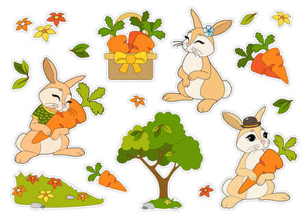 Colorful stickers set with rabbits in a hat and T-shirt, flowers, carrots in a basket isolated on white background. Cut and glue children games and decorations. 向量圖像