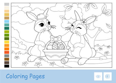 Colorless contour image of cute couple of Easter rabbits with Easter eggs in a basket and suggested palette. Wild animals preschool kids coloring book vector illustrations