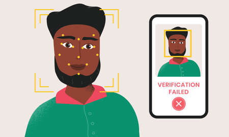 Man being checked via smartphone face identification technology and the verification is failed. Facial recognition system. Security scanning frame and dots