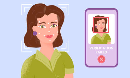 Female being checked via smartphone face identification technology and the verification is failed. Facial recognition system. Security scanning frame and dots