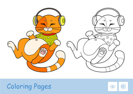 Colorful illustration of cute red cat in T-shirt, listening to the music in headphones and colorless linear duplicate. Pets preschool kids coloring page vector illustration