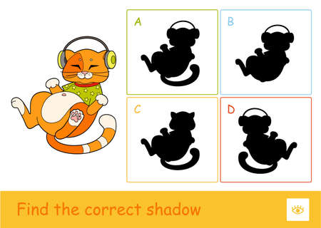 Find the correct shadow quiz learning children game with the illustration of cute cat in T-shirt, listening to the music in headphones and four silhouette shadows for the youngest children. Vettoriali
