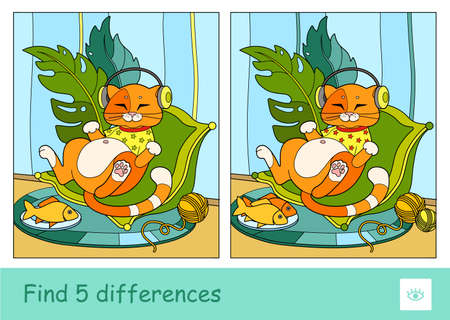 Find five differences quiz learning children game with the illustrations of cute red cat in T-shirt, listening to the music in headphones, lying on a cozy pillow 向量圖像