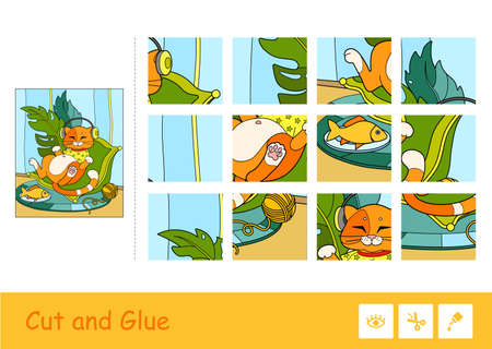 Colorful puzzle game for kids with the illustration of cute red cat in T-shirt, listening to the music in headphones, lying on a cozy pillow next to a plate and a clew.