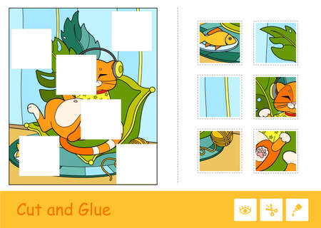 Colorful puzzle cut and glue game for kids with cute red cat in T-shirt, listening to the music in headphones, lying on a cozy pillow next to a plate and a clew.