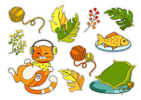Colorful sticker pack with cute red cat in T-shirt, listening to the music in headphones, his cozy pillow, plate with fish, home plants and clew on white background.