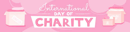 International charity day pink and white horizontal banner template. Clothes donation for people in need. Non profit event announcement and volunteering vector illustration.