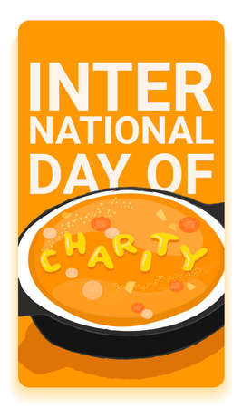 International charity day social media story template with hot tasty soup and the word charity made up of noodles. Charity event announcement illustration.