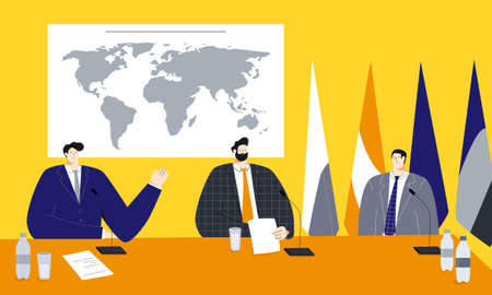 Political summit vector illustration with male politicians sitting near the world map and flags, discussing main development vectors and trying to find solutions of social and economic problems