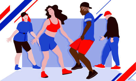 Four dancers rehearsing hip-hop dance or street dance style turfing, krump, jazz-funk choreography in dance class. Bright print-ready vector illustration. Hobby and leisure.