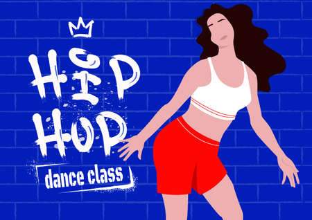 Girl-dancer standing against the wall with graffiti. Vector print-ready banner template for hip-hop or street dance style turfing, krump, jazz-funk dance classes. Hobby and leisure.