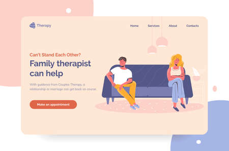 Family therapist service for unhappy couples having relationship crisis. Professional psychologist landing page first screen template. Angry disappointed man and woman