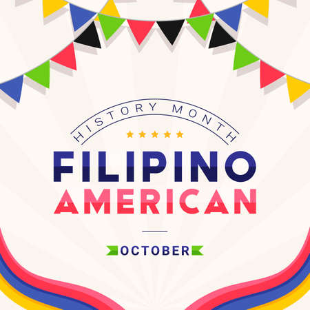 Filipino American History Month - October - square vector banner template with the text and colorful decorative flags around it. Tribute to contributions of Filipino Americans to world culture