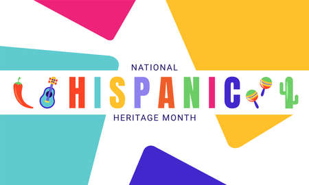 National Hispanic Heritage Month horizontal banner template decorated with the attributes of Latin American culture like chilli, cactus, guitar, maracas.