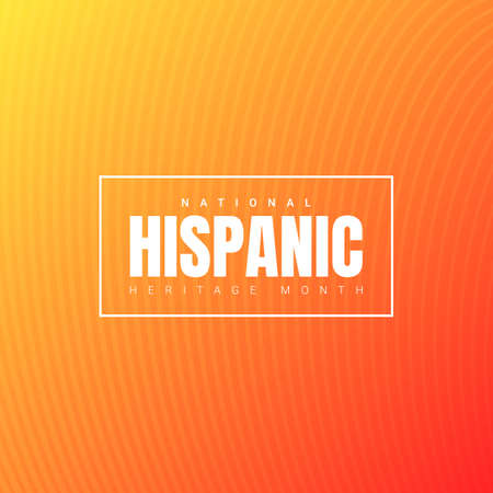 National Hispanic Heritage Month square banner template with white text in a frame on orange gradient background. Influence of Latin American heritage on a world culture 向量圖像