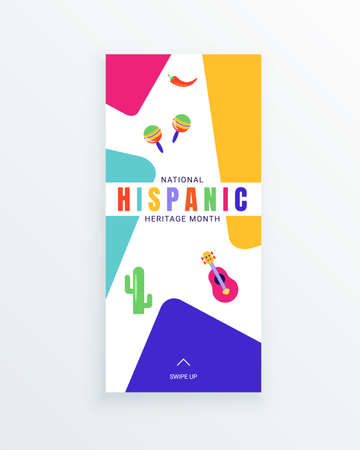National Hispanic Heritage Month social media story template decorated with attributes of Latin American culture like chilli, cactus, guitar, maracas.