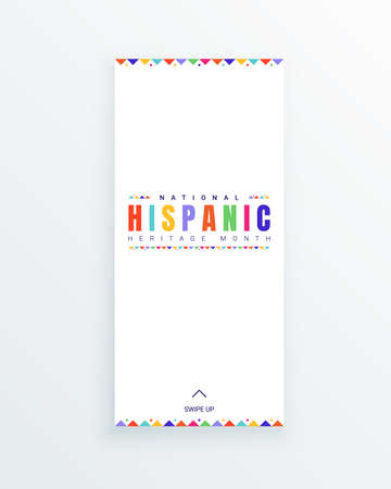 National Hispanic Heritage Month social media story template with colorful text and flags on white background. Influence of Latin American heritage on a world culture and spreading the information