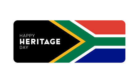Happy Heritage Day - 24 September - horizontal banner template with the South African flag and text isolated on white. South African public holiday