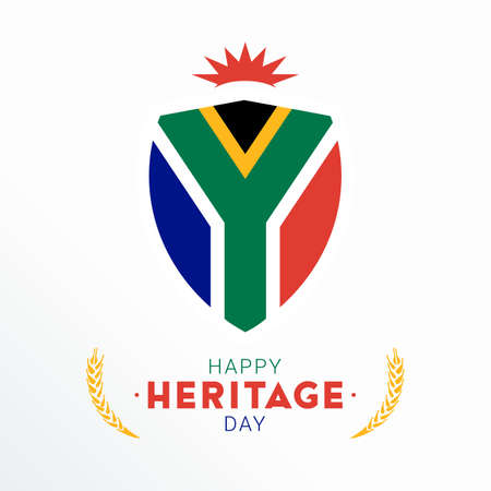 Happy Heritage Day - 24 September - square vector banner template with the South African flaf on light background. Celebrating and honoring African culture, beliefs and traditions