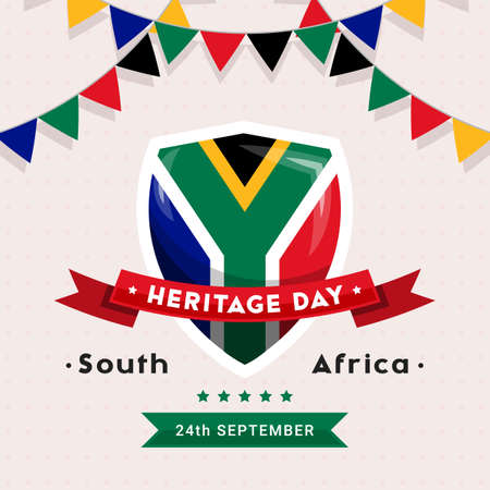 South Africa Heritage Day - 24 September - square vector banner template with the South African flag colors on light background. Celebrating and honoring African culture, beliefs and traditions