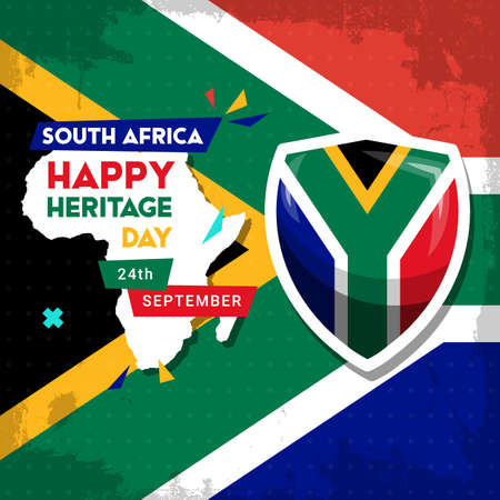 Happy South Africa Heritage Day - 24 September - square vector banner template with the South African flag and African continent. Celebrating and honoring African culture and traditions 向量圖像