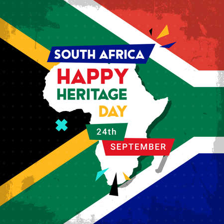 Happy South Africa Heritage Day - 24 September - square banner template with the South African flag as the background and African continent. Celebrating and honoring African culture and traditions 向量圖像