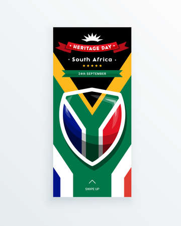 South Africa Heritage Day - 24 September - social media story template with the South African flag as the background. Celebrating African culture and traditions and spreading the information.