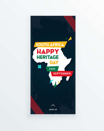 Happy South Africa Heritage Day - 24 September - social media story template with the South African flag colors and African continent on dark background. Celebrating African culture.