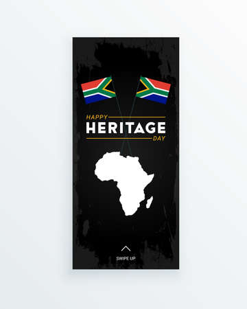 Happy Heritage Day - 24 September - social media story template with the South African flags and African continent on dark background. Celebrating African culture and spreading the information.