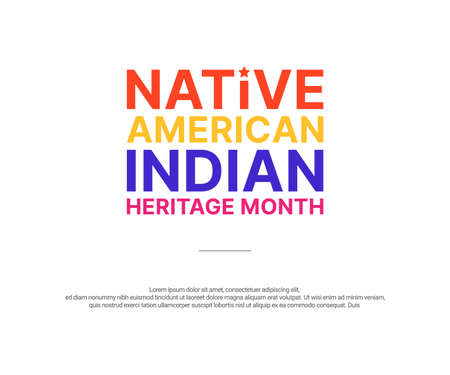 Native American Indian Heritage Month - November - square banner with colorful text on white background. Building bridges of understanding and friendship with Native people and honoring their culture