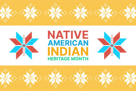 Native American Indian Heritage Month - November - horizontal banner with traditional ornaments. Building bridges of understanding and friendship with Native people and honoring their culture 向量圖像