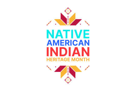 Native American Indian Heritage Month - November - vertical banner with traditional ornaments. Building bridges of understanding and friendship with Native people and honoring their culture 向量圖像