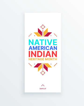 Native American Indian Heritage Month - November - social media story with traditional ornaments. Building bridges of understanding with Native people and honoring their culture