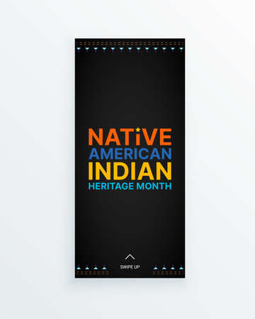 Native American Indian Heritage Month - November - social media story with colorful text on dark background. Building bridges of understanding with Native people and honoring their culture
