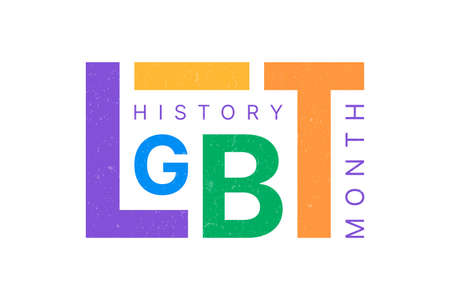 LGBT History Month horizontal banner with colorful textural text on white background. Building community and representing a civil rights statement about the contributions of the LGBTQ people. 向量圖像