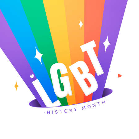 LGBT History Month square vector illustration with shining lgbt-rainbow on white background. Building community and representing a civil rights statement about the contributions of the LGBTQ people.