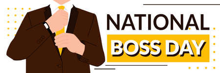 National boss day - October 16th - horizontal banner template with the chief knotting his or her tie. Thanking bosses for being kind and fair. Corporate culture and business relationship. 向量圖像