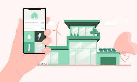 Sustainable home with solar panels and wind farms mobile application which is used by its owner. Eco friendly smart houses and efficient homes, built from low-impact materials vector illustration