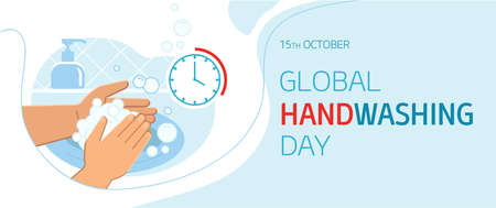 Global handwashing day - October 15th - horizontal banner template. Person washing hands in sink carefully with soap foam from dispenser for 20-30 seconds to prevent infections including coronavirus 向量圖像