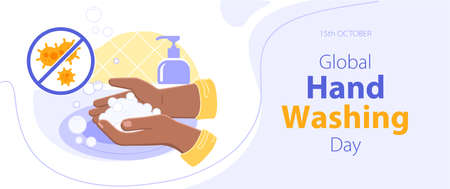 Global handwashing day - October 15th - horizontal banner. Black or brown person washing hands with a soap foam from a dispenser. Everyday hygiene essentials. Coronavirus and infections prevention